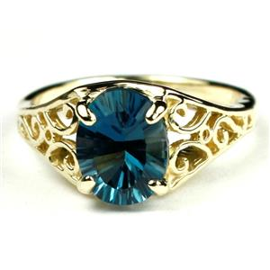 R005, Quantum Cut London Blue Topaz, Gold Ring