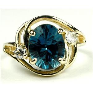 R021, Quantum Cut London Blue Topaz, Gold Ring