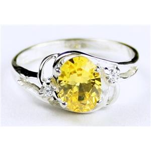 SR176, Golden Yellow CZ, 925 Sterling Silver Ring