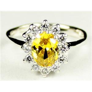 SR235, Golden Yellow CZ, 925 Sterling Silver Ring