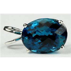 SP004, London Blue Topaz, 925 Sterling Silver Pendant