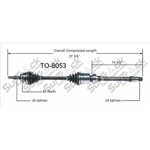 CV Drive Axle Shaft Fits Toyota Camry, (Solara W/ABS) 2002-08 Front P