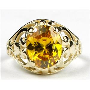 Golden Yellow CZ, Gold Ring, R004