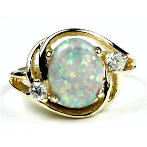 R021, Created White Opal, Gold Ring