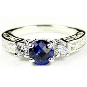 SR254, Created Blue Sapphire w/ Accents, Sterling Silver Ring