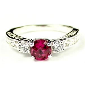 SR254, Created Ruby w/ Accents, Sterling Silver Ring
