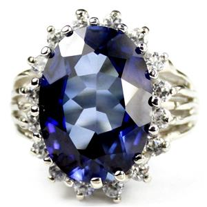 SR270, Created Blue Sapphire, Sterling Silver Ring