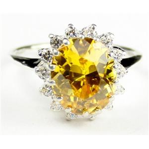 SR283, Golden Yellow CZ, 925S Sterling Silver Ring