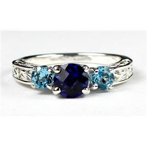 SR254, Created Blue Sapphire, Swiss Blue Topaz Accents, Sterling Silver Ring
