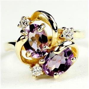 R016, Amethyst, Gold Ring