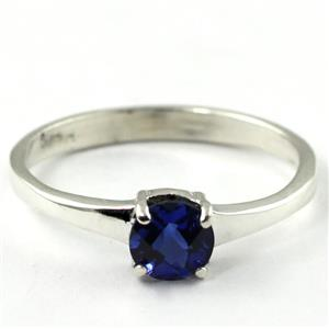 SR301, Created Blue Sapphire, 925 Sterling Silver Ring