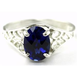 SR305, Created Blue Sapphire, 925 Sterling Silver Ring