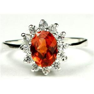 SR235, Created Padparadsha Sapphire, 925 Sterling Silver Ring