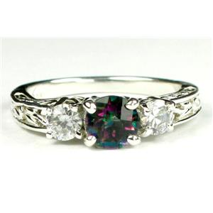 SR254, Mystic Fire Topaz w/ Accents, Sterling Silver Ring