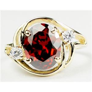 R021, Garnet CZ, Gold Ring