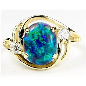 R021, Created Green/Blue, Gold Ring