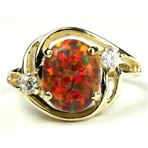 R021, Created Red/Brown, Gold Ring