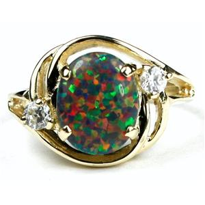 R021, Created Black Opal, Gold Ring