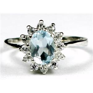 SR235, Aquamarine, 925 Sterling Silver Ring