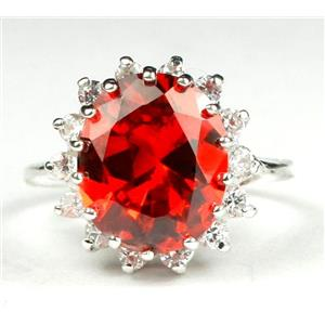 SR283, Created Padparadsha Sapphire, 925S Sterling Silver Ring