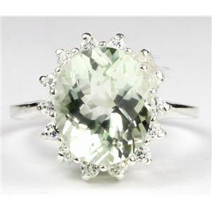 SR283, Green Amethyst (Prasiolite), 925 Sterling Silver Ring
