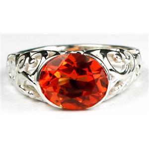 Created Padparadsha Sapphire 925 Sterling Silver Ring, SR360