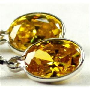 SE001, Golden Yellow CZ, 925 Sterling Silver Earrings