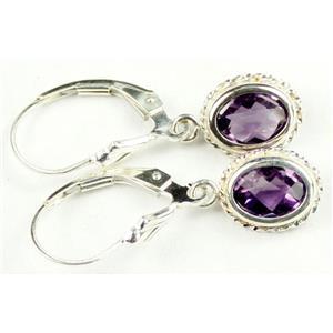 SE006, Amethyst, 925 Sterling Silver Rope Earrings