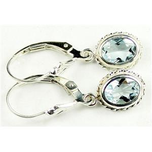 SE006, Aquamarine, 925 Sterling Silver Rope Earrings