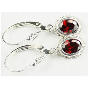 SE006, Garnet CZ, 925 Sterling Silver Rope Earrings