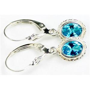 Swiss Blue CZ, 925 Sterling Silver Rope Earrings, SE006