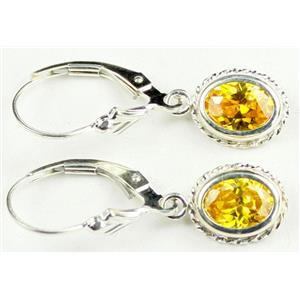 SE006, Golden Yellow CZ, 925 Sterling Silver Rope Earrings
