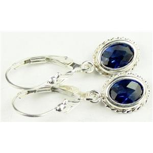 SE006, Created Blue Sapphire, 925 Sterling Silver Rope Earrings