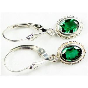 SE006, Russian Nanocrystal Emerald, 925 Sterling Silver Rope Earrings