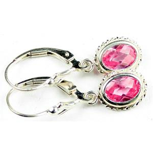SE006, Created Pink Sapphire, 925 Sterling Silver Rope Earrings