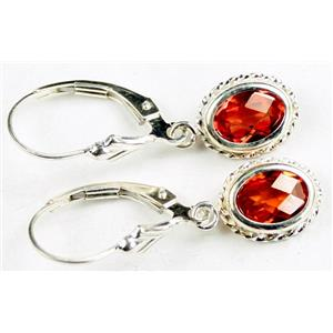 SE006, Created Padparadsha Sapphire, 925 Sterling Silver Rope Earrings