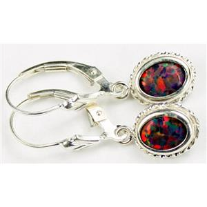 SE006, Created Black Opal, 925 Sterling Silver Rope Earrings