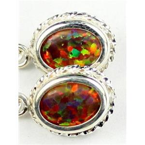 SE006, Created Red/Brown Opal, 925 Sterling Silver Rope Earrings