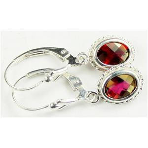 SE006, Crimson Fire Topaz, 925 Sterling Silver Rope Earrings