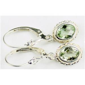 SE006, Green Amethyst, 925 Sterling Silver Rope Earrings