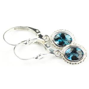 SE006, London Blue Topaz, 925 Sterling Silver Rope Earrings