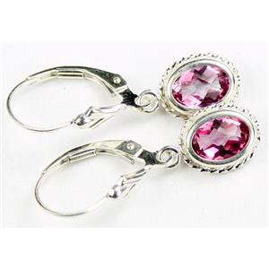 SE006, Pure Pink Topaz, 925 Sterling Silver Rope Earrings