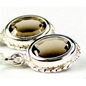 SE006, Smoky Quartz, 925 Sterling Silver Rope Earrings