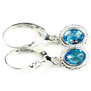 SE006, Swiss Blue Topaz, 925 Sterling Silver Rope Earrings