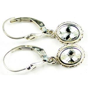 SE006, Silver Topaz, 925 Sterling Silver Rope Earrings