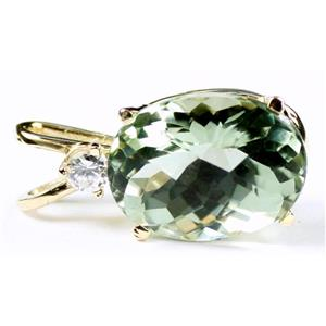 P019, Green Amethyst 14k Gold Pendant