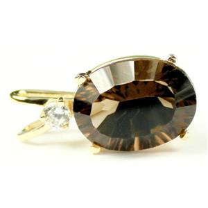 P019, Smoky Quartz 14K Gold Pendant