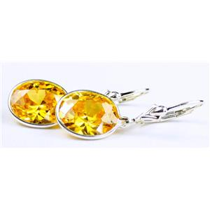 SE201, Golden Yellow CZ, 925 Sterling Silver Earrings