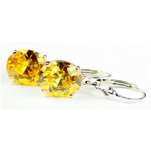 SE207, Golden Yellow CZ, 925 Sterling Silver Earrings