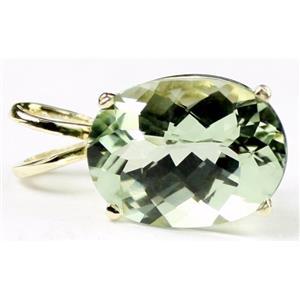 P006, Green Amethyst 14k Gold Pendant
